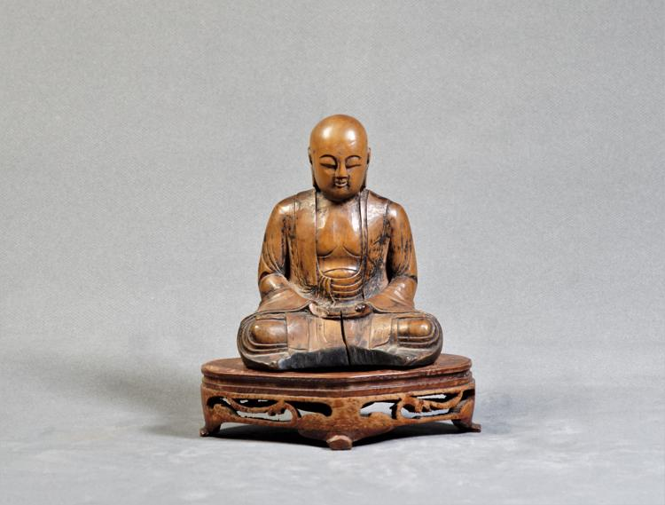 A Yellow Rosewood of Buddha Status - Ming Dynasty