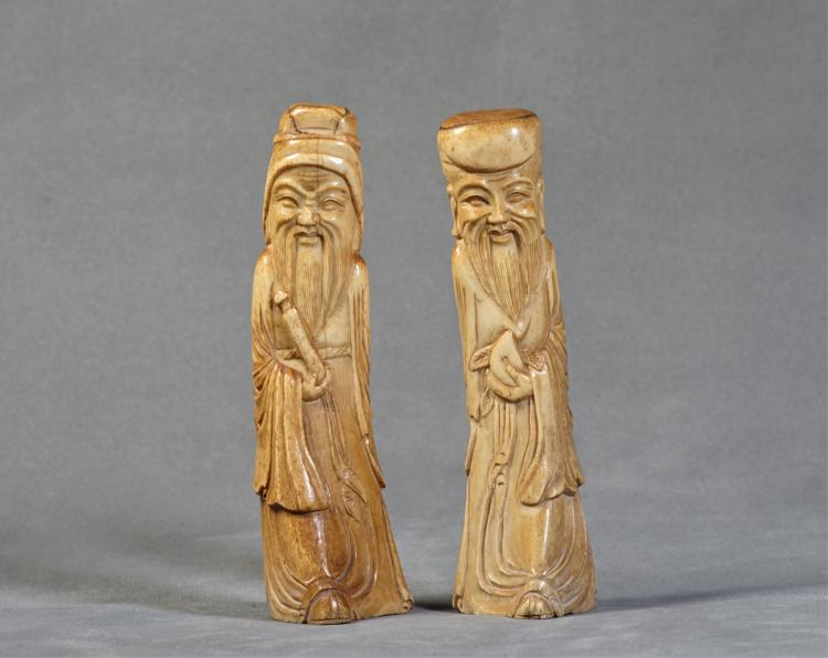 A Pair of Fortune and Health God Statue - Qing Dynasty