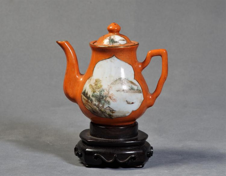A Pot with Colorful Secenery Painting - Qing Dynasty