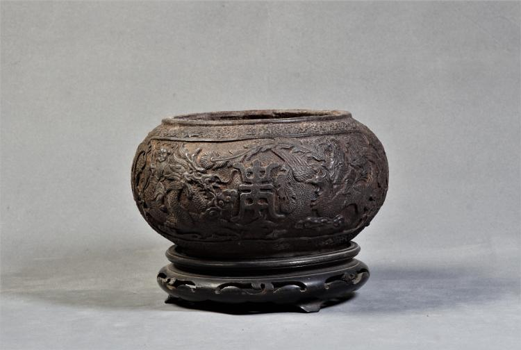 An Iron Bowl with Flowers Pattern Carving - Qing Dynsaty