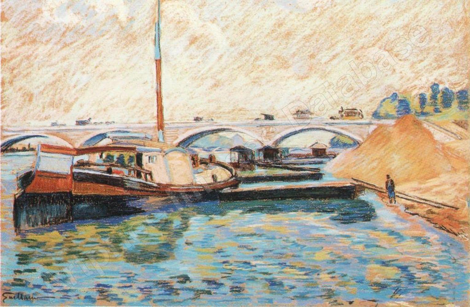 Jean Baptiste Armand Guillaumin - Péniches sur la Seine à Charenton