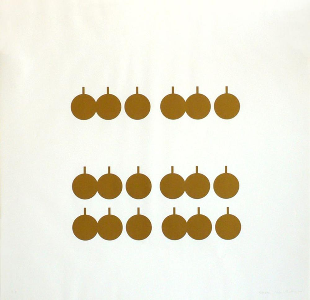 Francis Baudevin & John Armleder - Composition tasses dorées, 2001