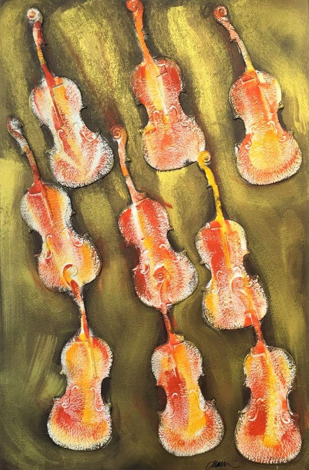 Arman - Empreintes de violon orange, 2004