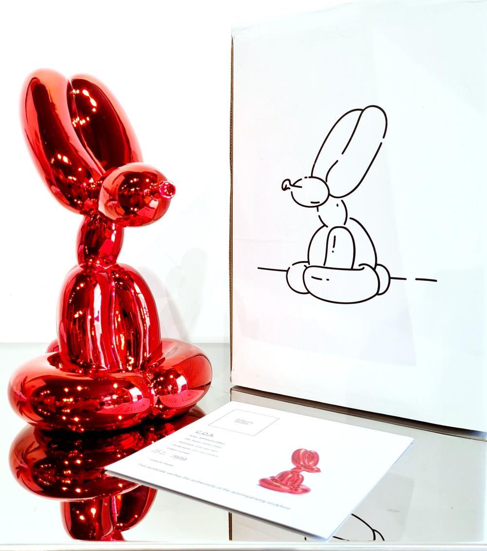 Jeff Koons (d'après) - Sitting Balloon Rabbit Red