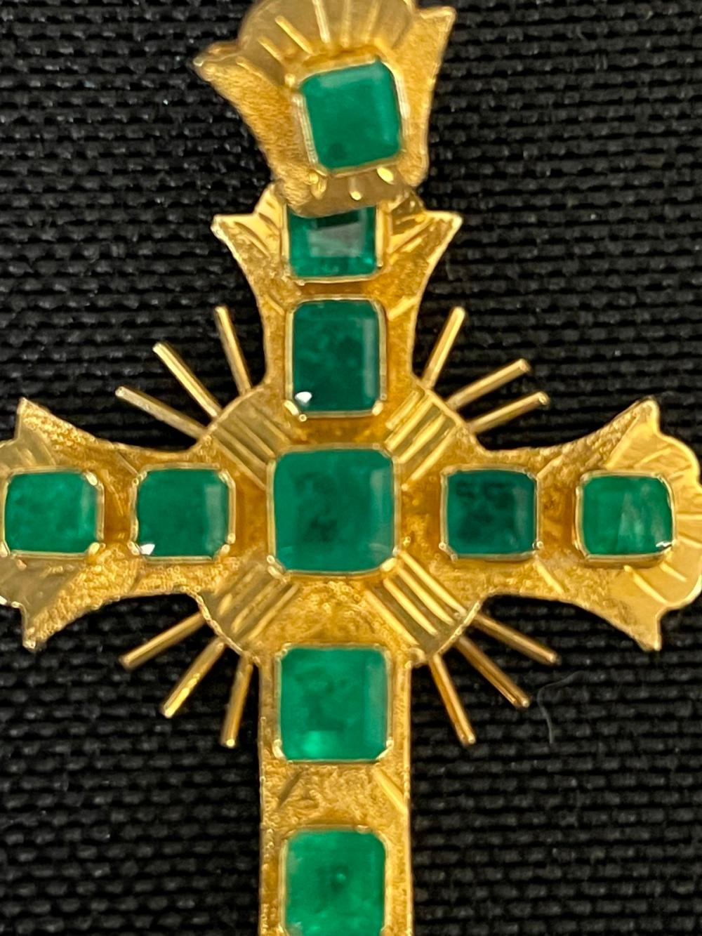 18k Gold and Emerald Cross