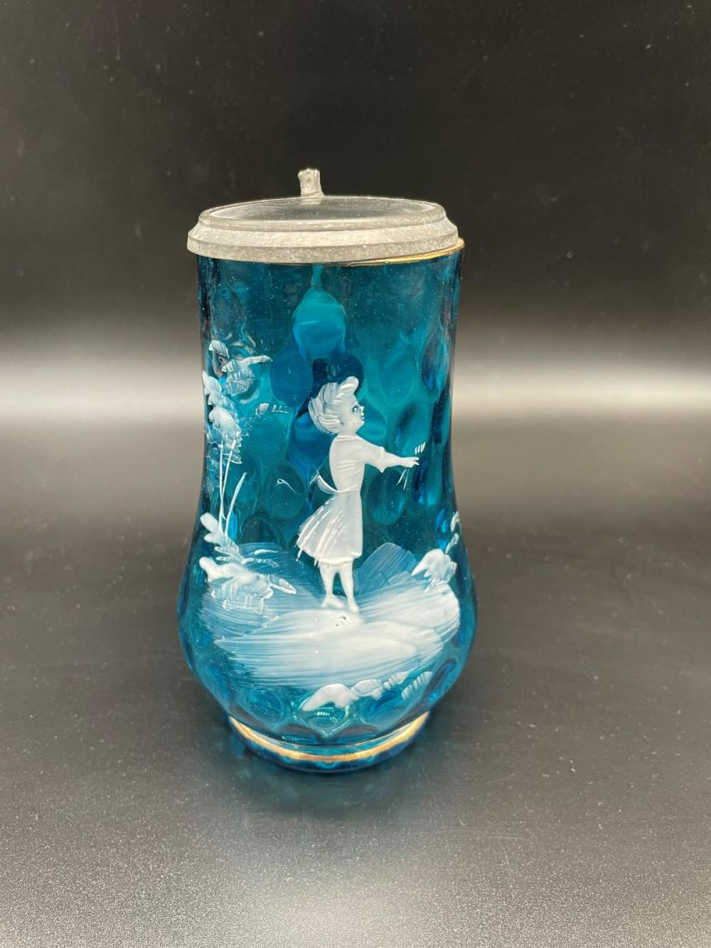 (2) Mary Gregory Glass Pieces: Vase and Stein