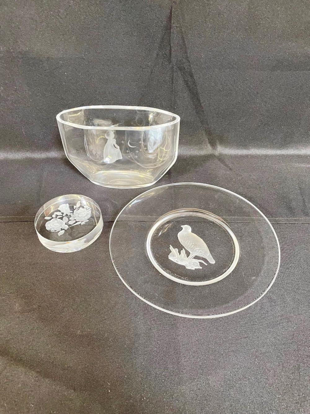 (3) Val St. Lambert, Orrefors Pieces of Glass: Plate, Vase, Paperweight