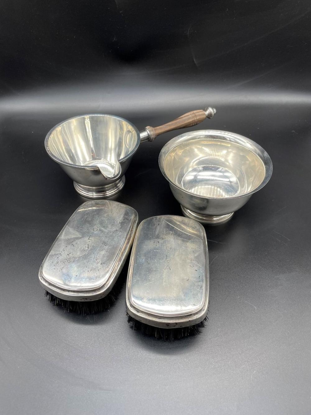 Sterling Silver Bowl, Handled Sauce, (2) Valet Brushes