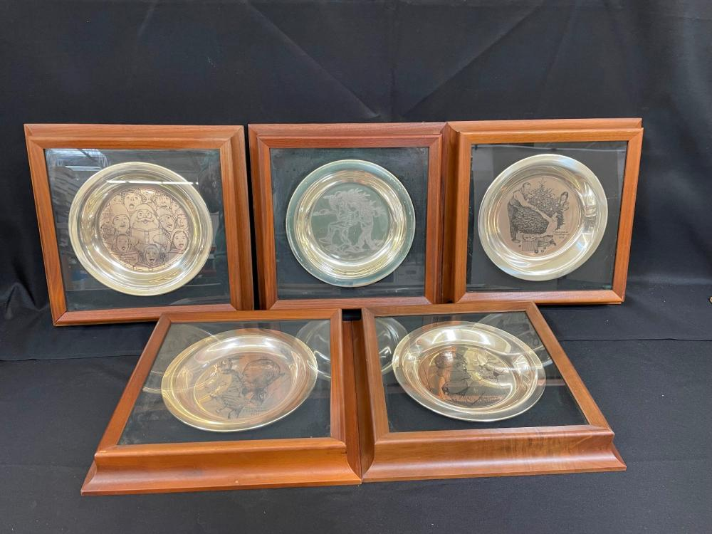 (5) Sterling Silver Norman Rockwell Plates in Shadow Boxes