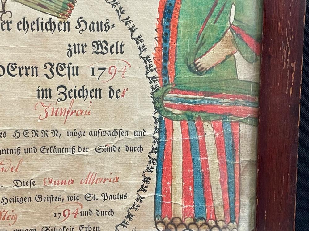 1794 Hand Made Baptismal Document From Belgium Framed