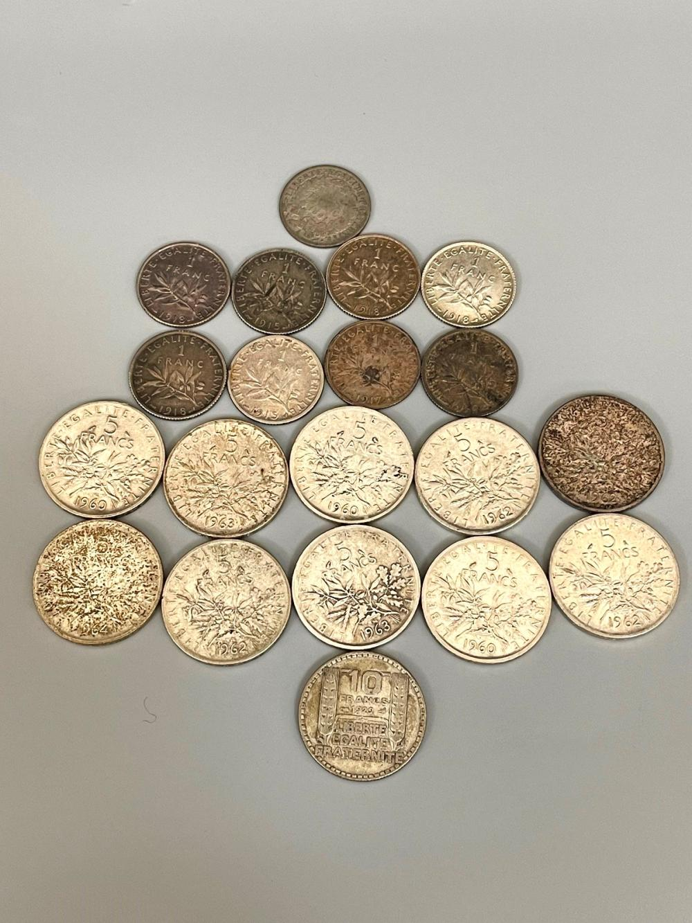 (20) France 1, 5, and 10 Silver Francs