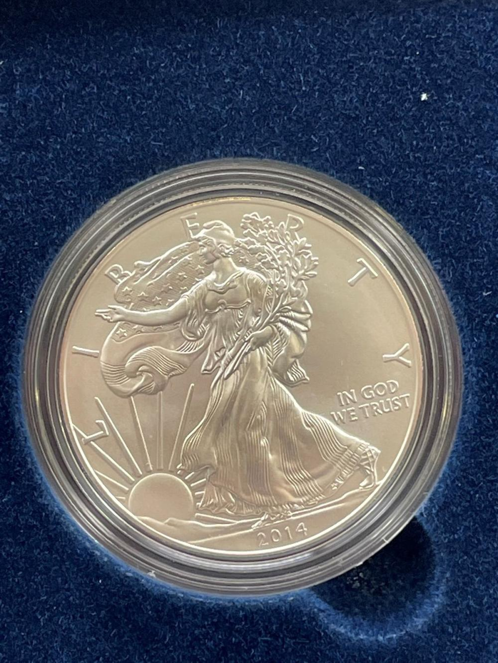 2014-W American Eagle One Ounce Silver Proof Coin In Presentation Box