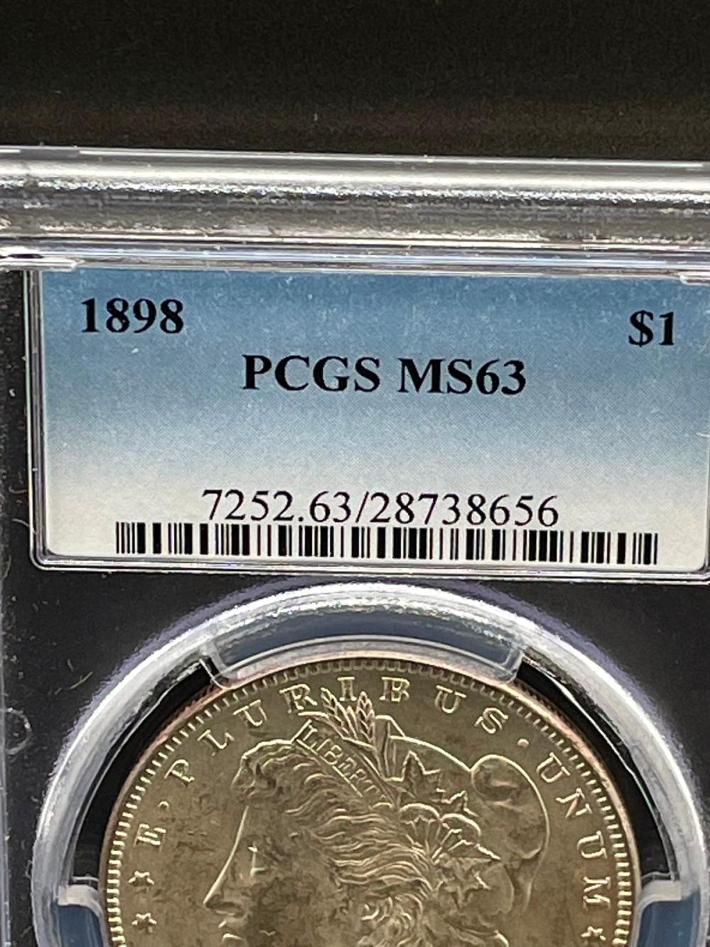 1898 Morgan Silver Dollar Graded PCGS MS63