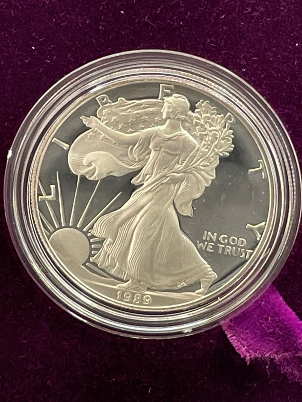 1989-S American Eagle One Ounce Silver Proof Coin In Presentation Box