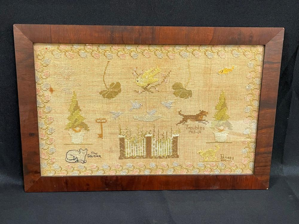 1916 Embroidered Sampler Framed of Cats and Dogs