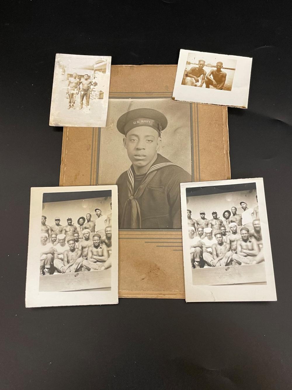 (5) Black Americana Photographs Military Naval Men