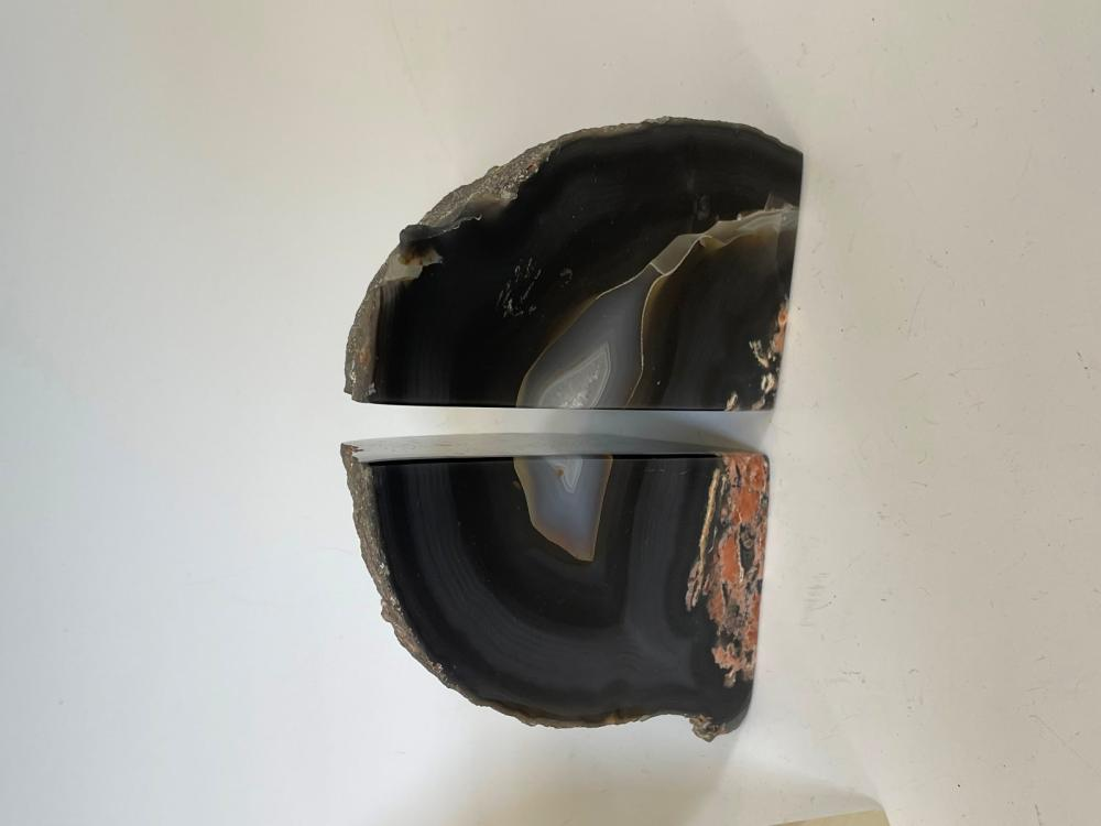 (2) Pairs of bookends, Marble, Geode