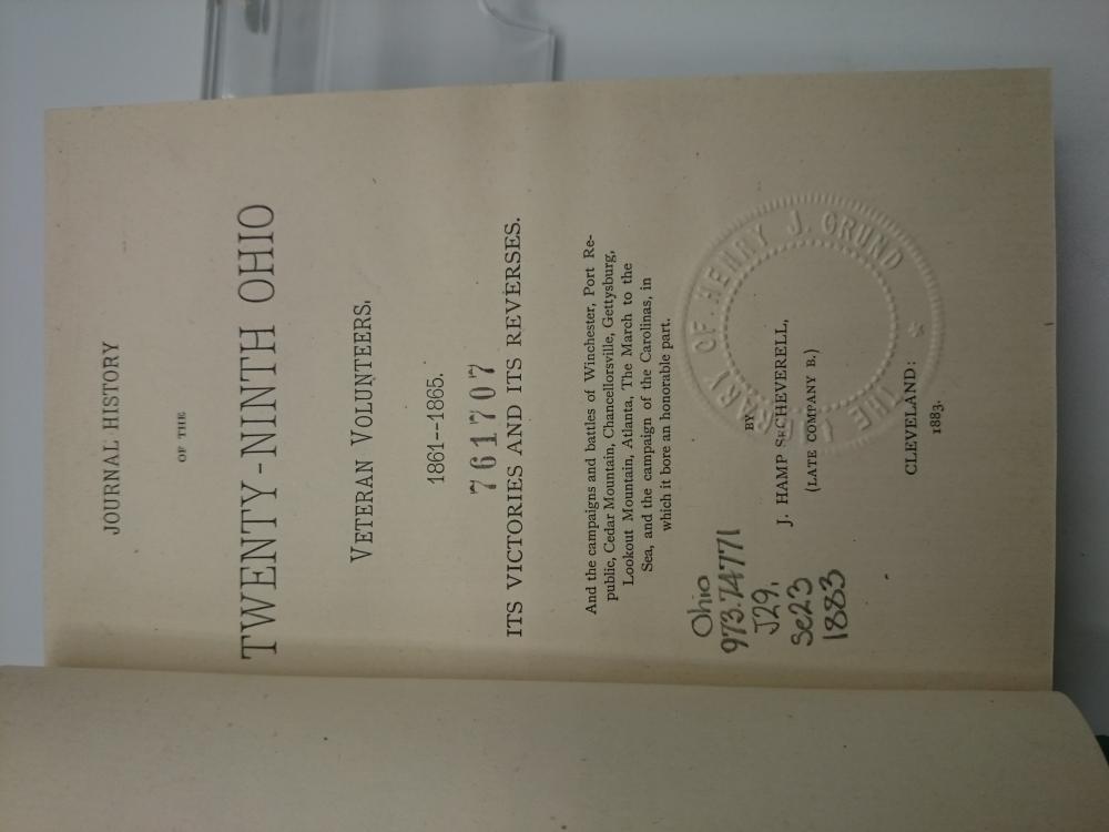 1883 Journal History of Twenty-Ninth Ohio Veteran Volunteers 1861-1865 Rebound