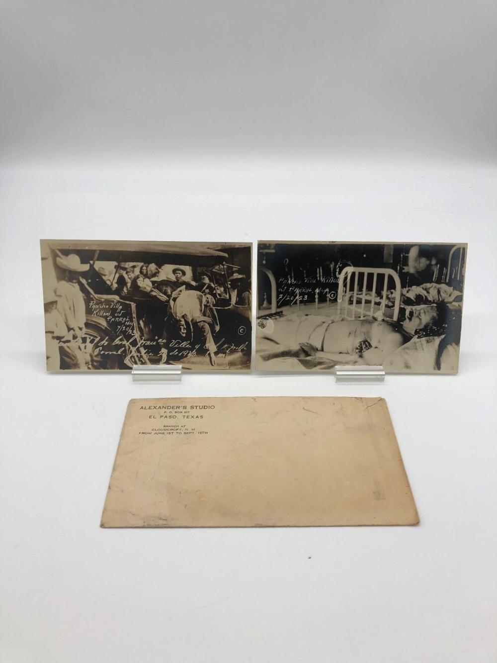 (2) Real Photo Postcards 1923 Pancho Villa Death Photos with Envelope