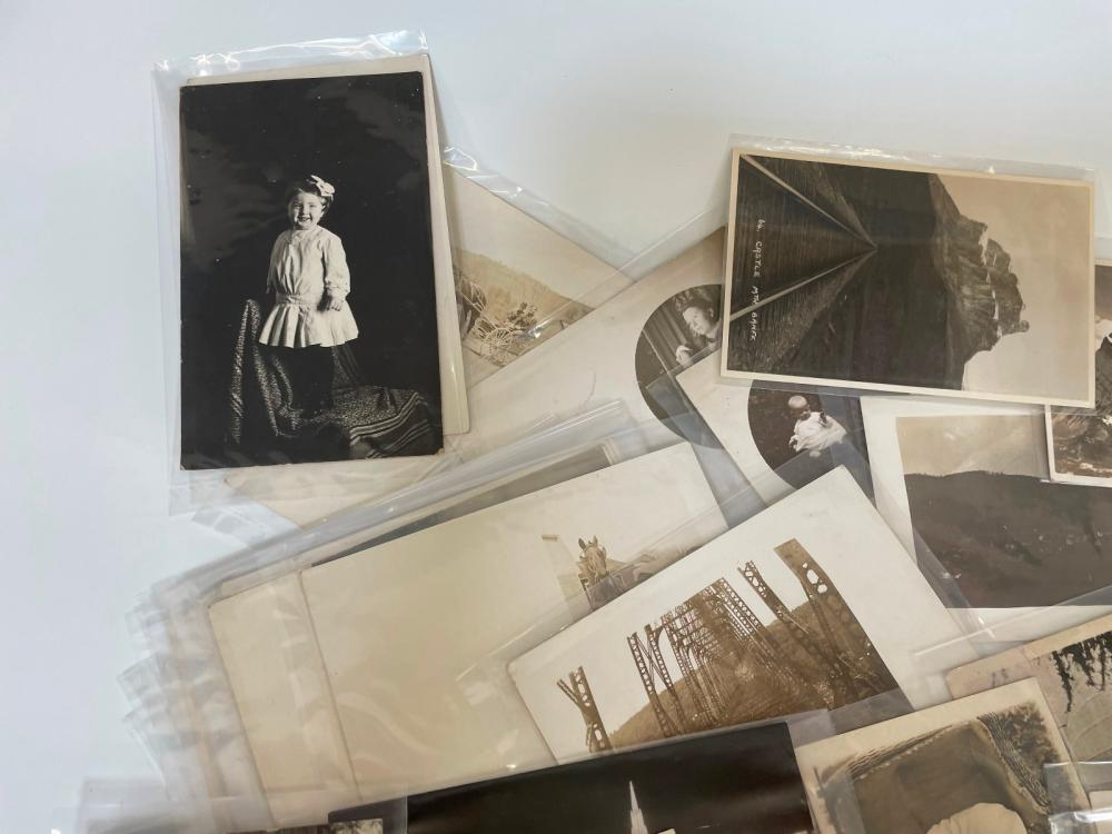 (138) Real Photo Post Cards Homesteads, Town Views and Portraits