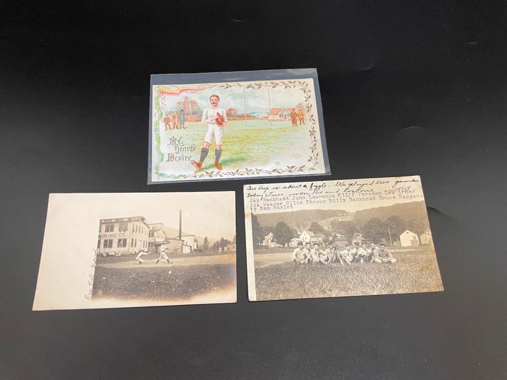 (3) Real Photo Post Cards Baseball And Football