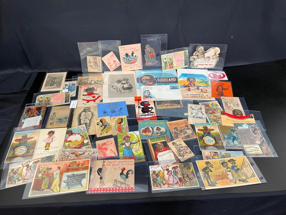 Large Group of Black Americana Advertising Cards