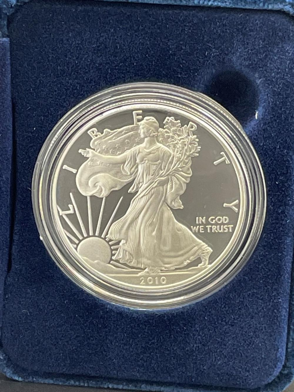 2010-W American Eagle One Ounce Silver Proof Coin In Presentation Box
