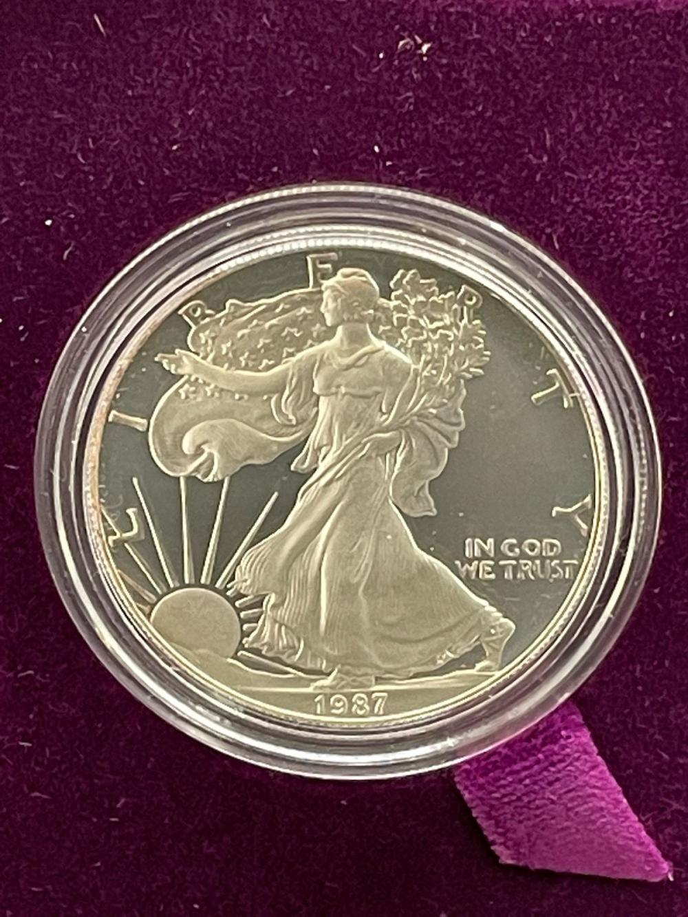 1987-S American Eagle One Ounce Silver Proof Coin In Presentation Box