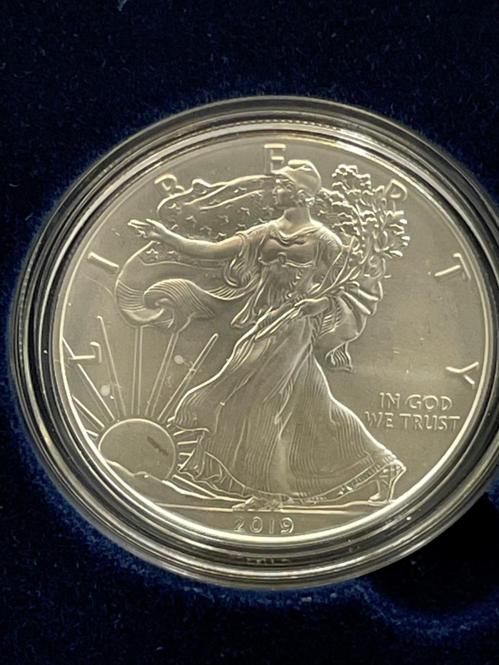 2019-W American Eagle One Ounce Silver Proof Coin In Presentation Box