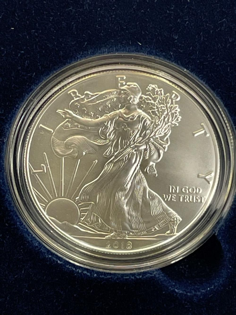2018-W American Eagle One Ounce Silver Proof Coin In Presentation Box