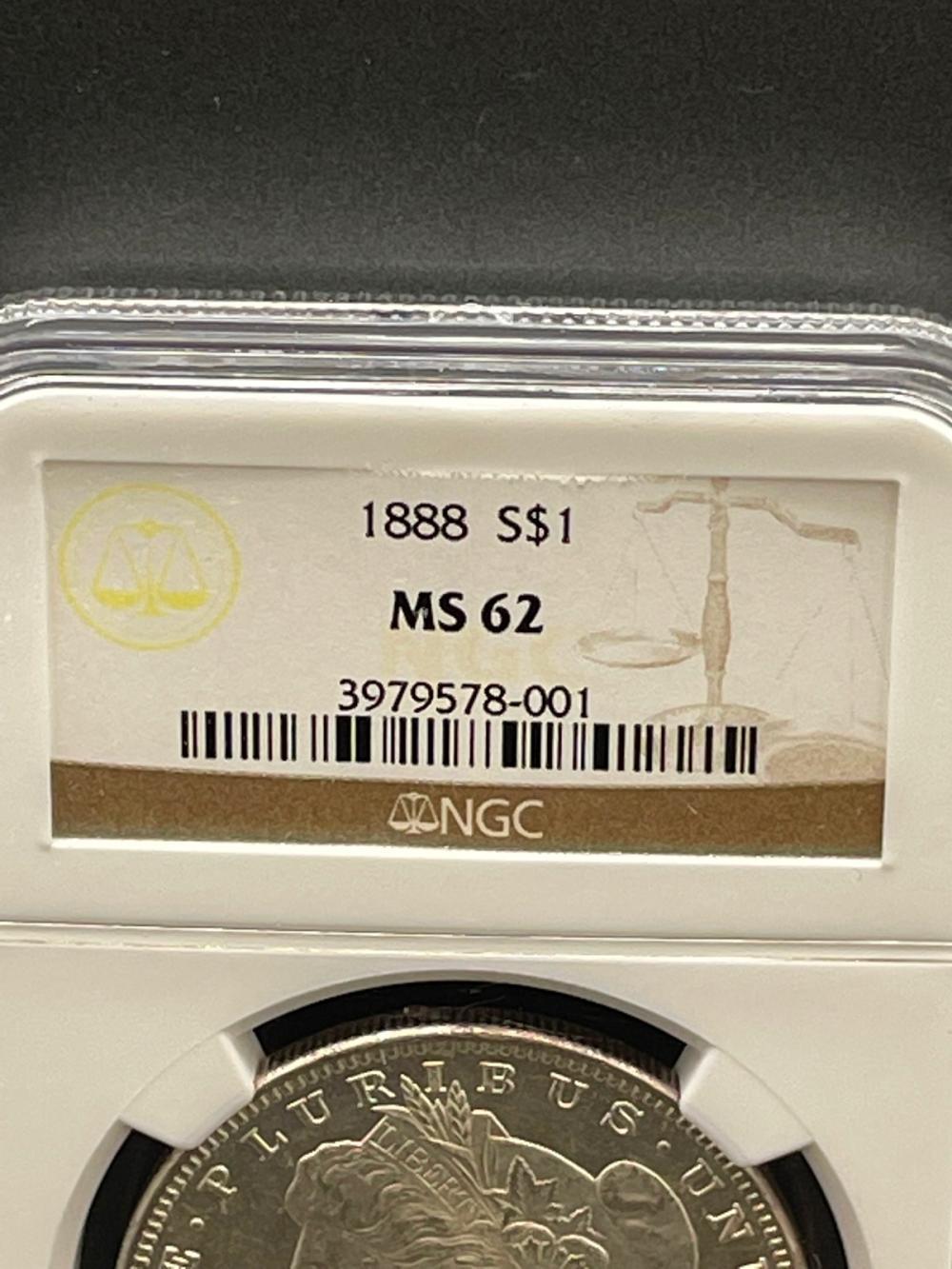 1888 Morgan Silver Dollar Graded NGC MS62