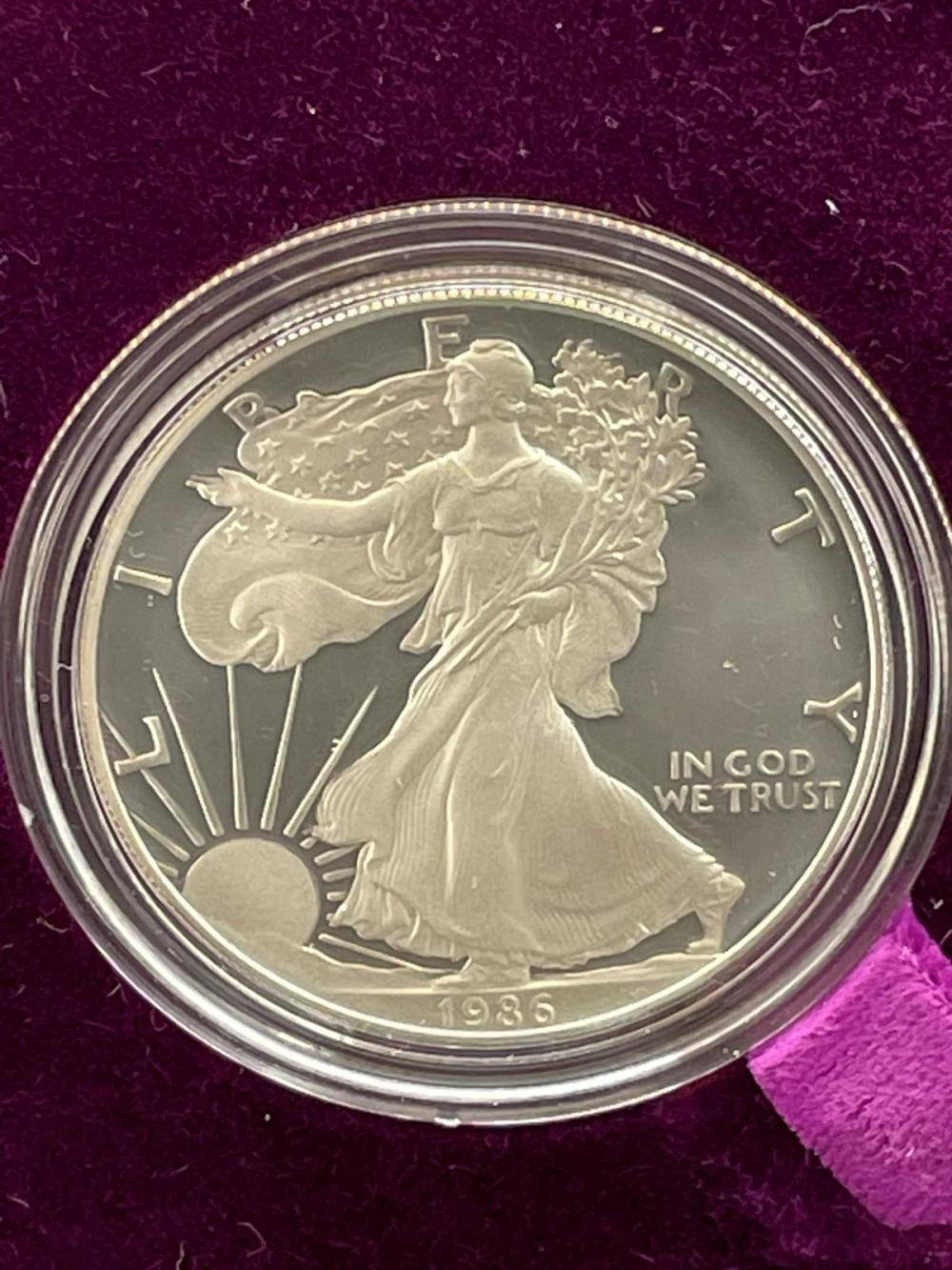 1986-S American Eagle One Ounce Silver Proof Coin In Presentation Box