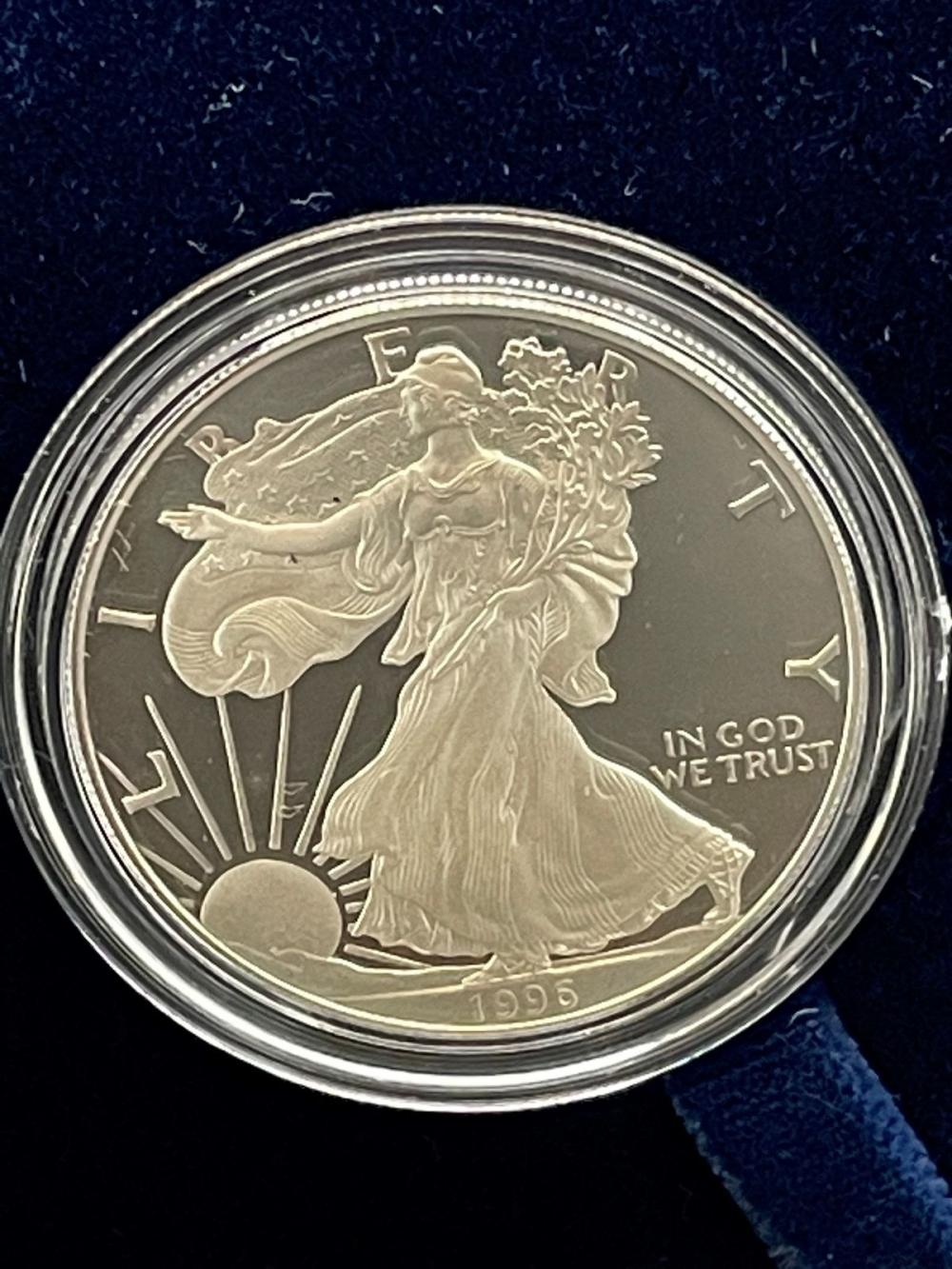 1996-P American Eagle One Ounce Silver Proof Coin In Presentation Box