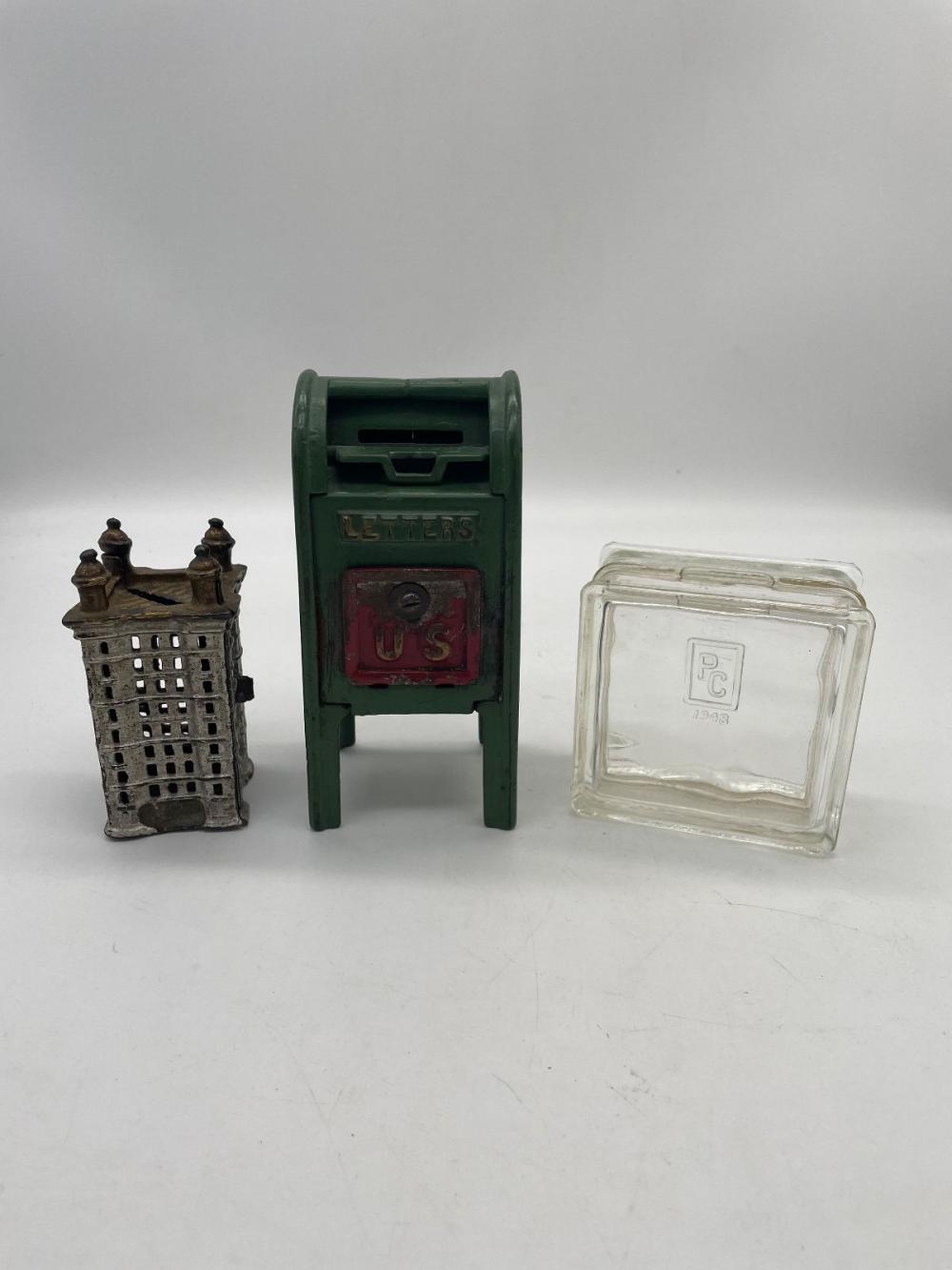 (3) Still Banks: Mail Box, Glass Block, Building
