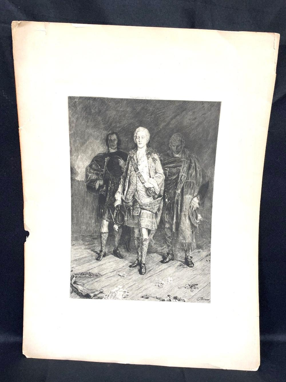 """George Barrie Etching """"Bonnie Prince Charlie"""" Columbian Exposition 1893"""
