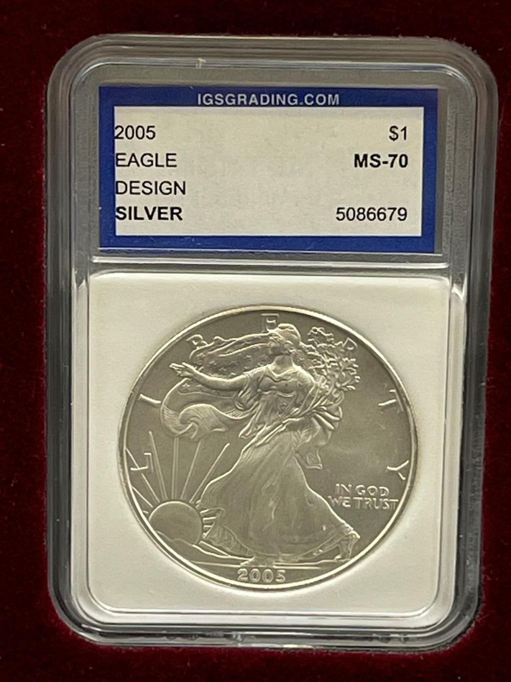 2005 $5 Dollar First Day Issue PR70, 2005 American Eagle IGS MS70