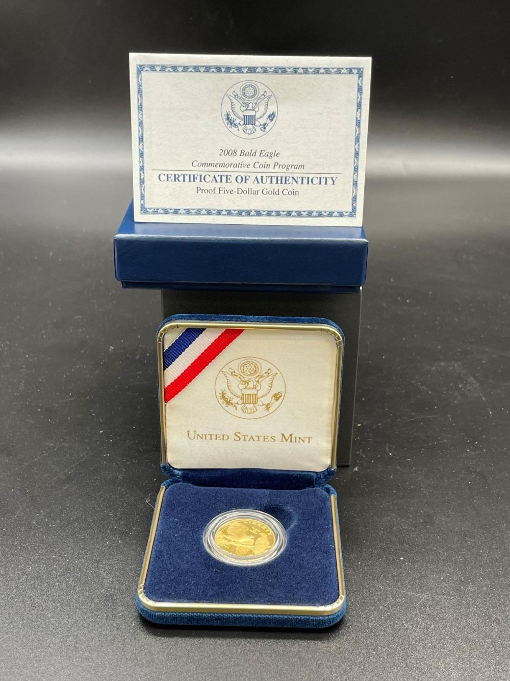 2008-W Proof Bald Eagle $5 Dollar Gold Coin in Presentation Box and COA