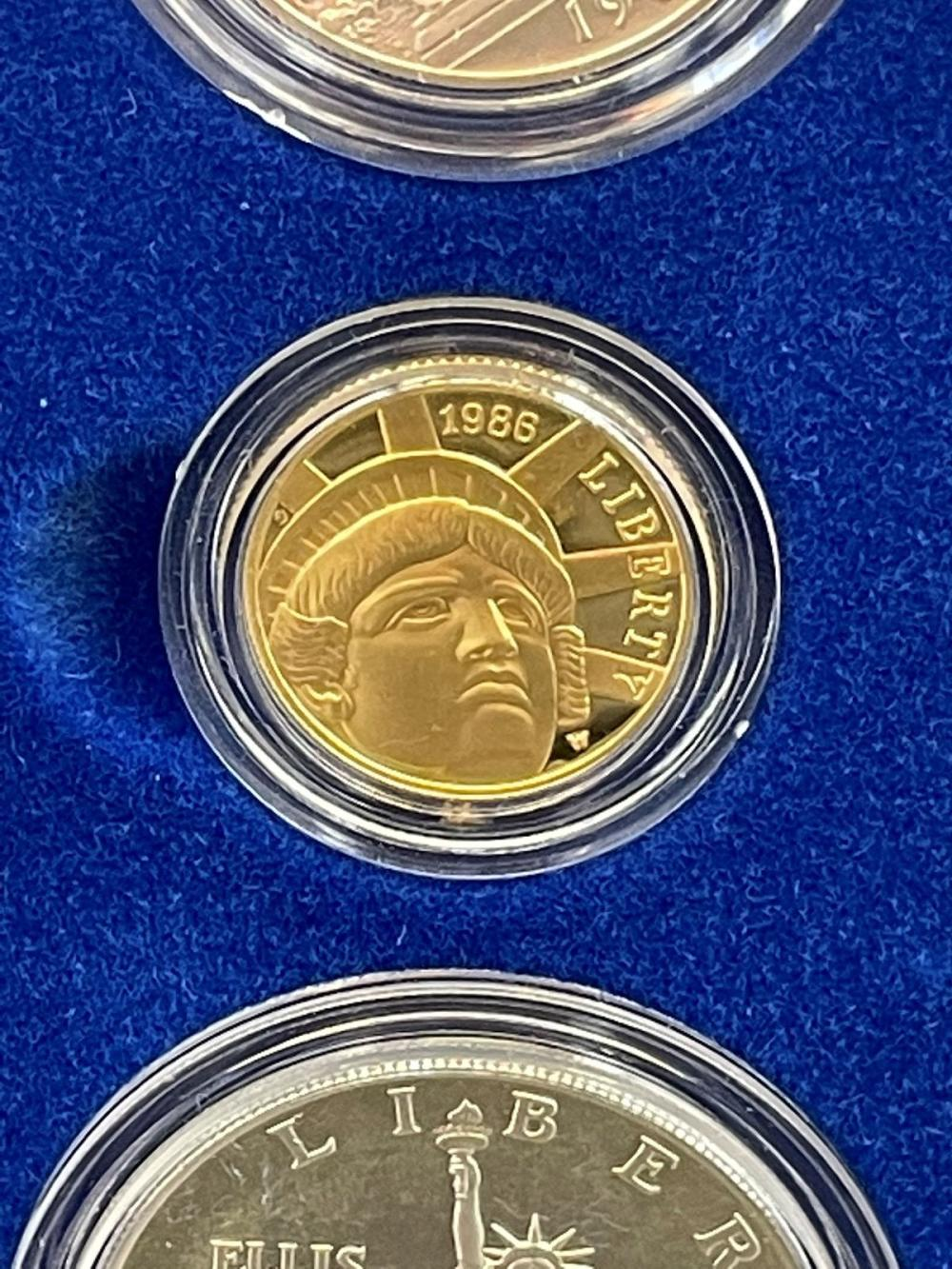 1986 U.S. Mint Liberty Coin Set Silver and $5 Gold in Presentation Box