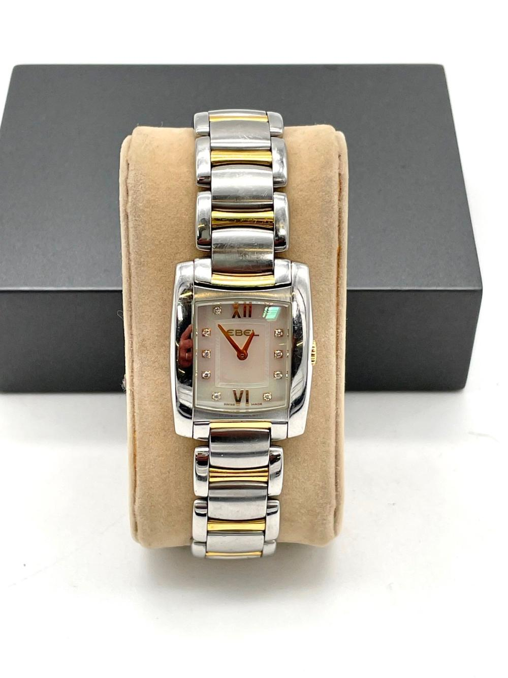 Ebel Brasilia Stainless Steel Ladies Wrist Watch With Yellow Gold Accent