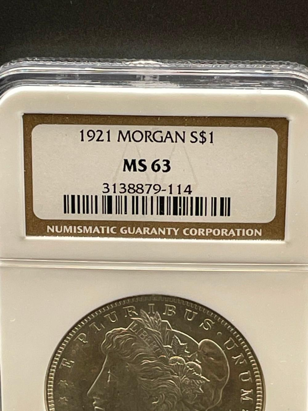 1921 Morgan Silver Dollar Graded NGC MS63