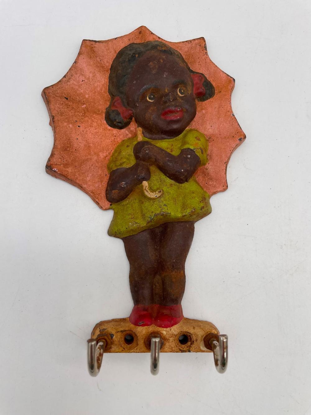 (3) Cast Iron Black Americana Key Holder Wall Hangers