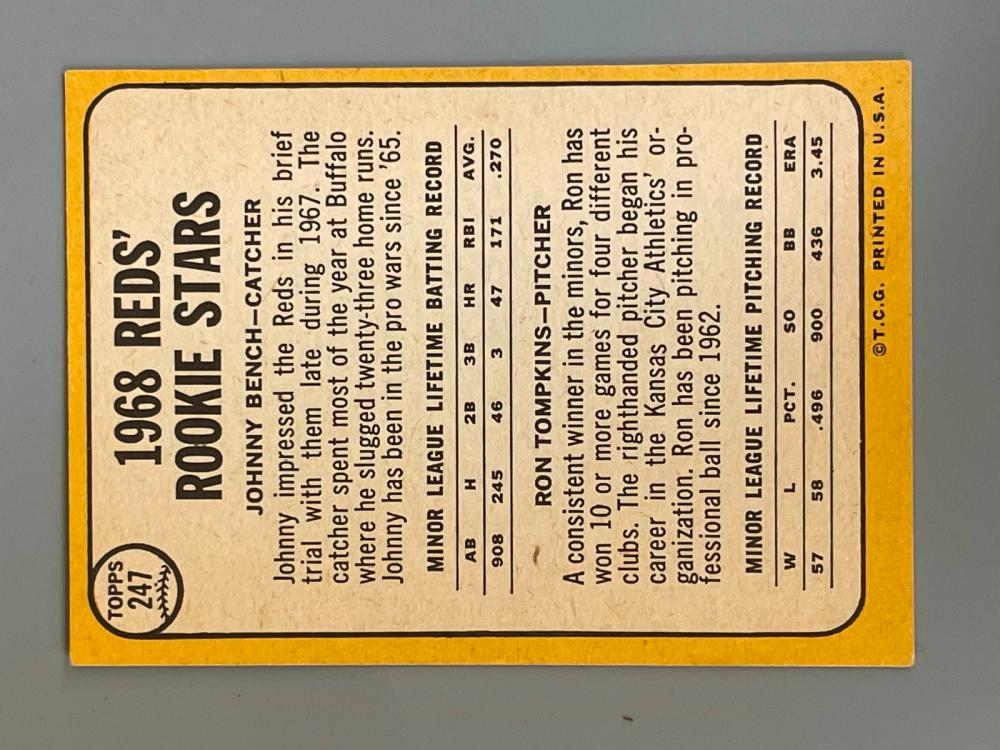 1968 Topps Johnny Bench Rookie Card #247 NM