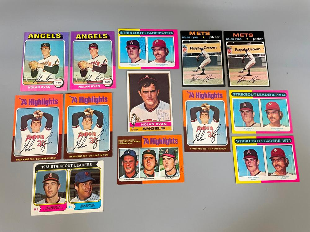 (13) Nolan Ryan Topps Baseball Cards (3) Autographed