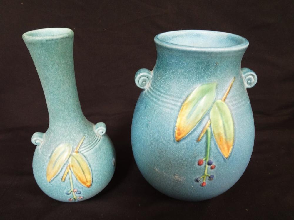 2 Pieces Weller Vases Cornish Pattern 1933