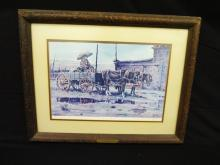 """James Boren Signed Lithograph """"Rainy Day at Hubbell's Trading Post"""""""