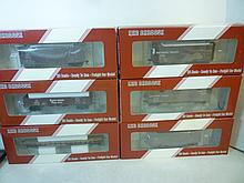 MODEL TRAIN FREIGHT CARS: ALL DIFFERENT CAR MODEL TRAIN FREIGHT CARS: ALL DIFFERENT CAR. NUMBERS (6 TOTAL). BRAND NEW IN BOX BY RED CABOOSE