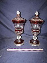 CLEAR GLASS AND RED FLASH GLASS JARS (PAIR)