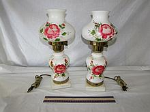 HAND-PAINTED MILK GLASS LAMPS (PAIR)