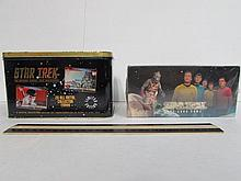 STAR TREK CARD GAME & COLLECTIBLE CARDS BOTH ARE IN ORIGINAL PACKAGING, COLLECTOR CARDS COME IN TIN
