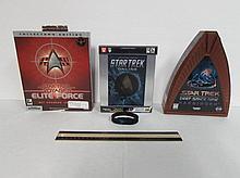 STAR TREK COMPUTER GAMES (3) STAR TREK DEEP SPACE NINE HARBINGER CD-ROM, STAR TREK ONLINE PC DVD-ROM SOFTWARE, & STAR TREK VOYAGER ELITE FORCE 3-D ACCELERATOR CARD REQUIRED, ALL ARE IN ORIGINAL PACKAGING